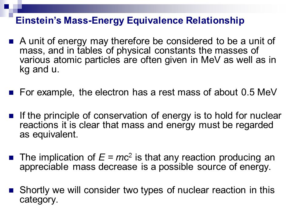Einstein's Mass-Energy Equivalence Relationship