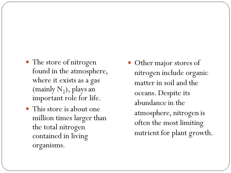 The store of nitrogen found in the atmosphere, where it exists as a gas (mainly N2), plays an important role for life.