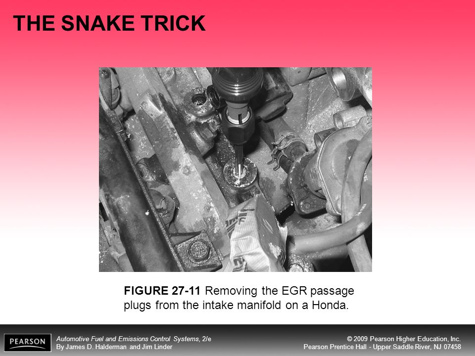 THE SNAKE TRICK FIGURE 27-11 Removing the EGR passage plugs from the intake manifold on a Honda.