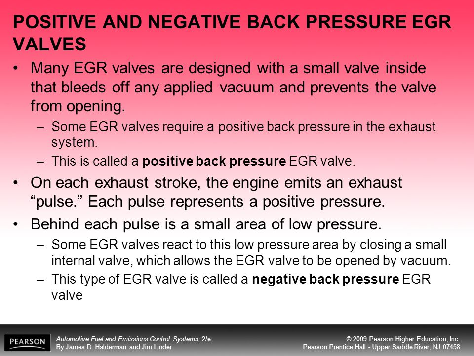 POSITIVE AND NEGATIVE BACK PRESSURE EGR VALVES