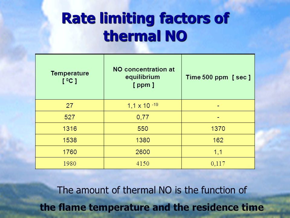 Rate limiting factors of thermal NO