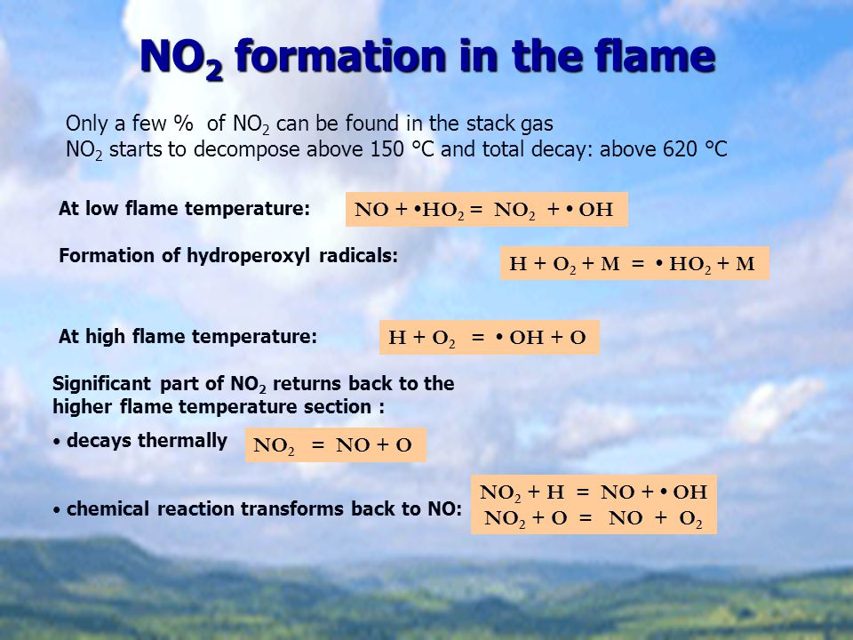 NO2 formation in the flame