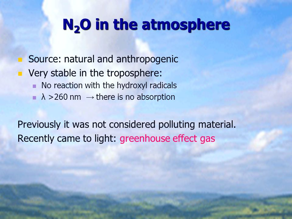 N2O in the atmosphere Source: natural and anthropogenic