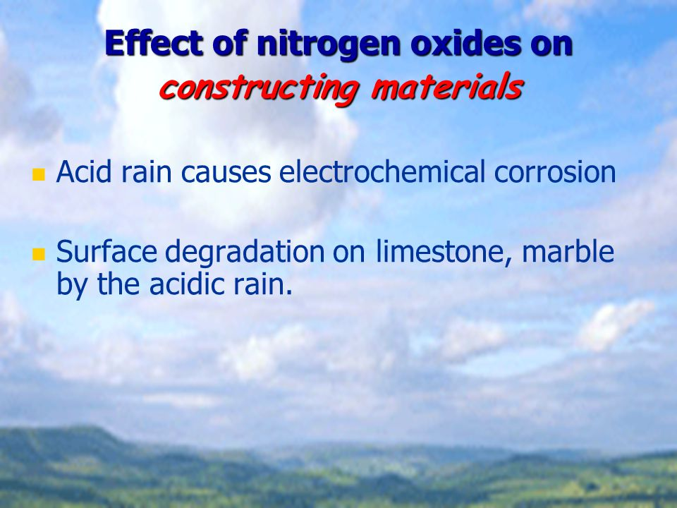 Effect of nitrogen oxides on constructing materials