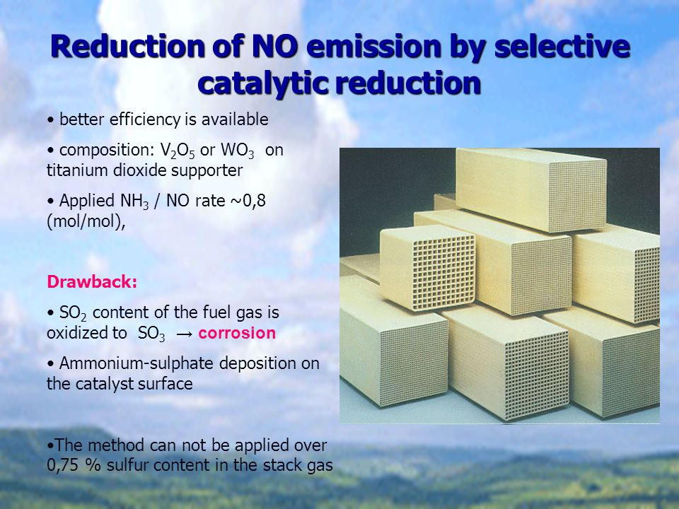 Reduction of NO emission by selective catalytic reduction