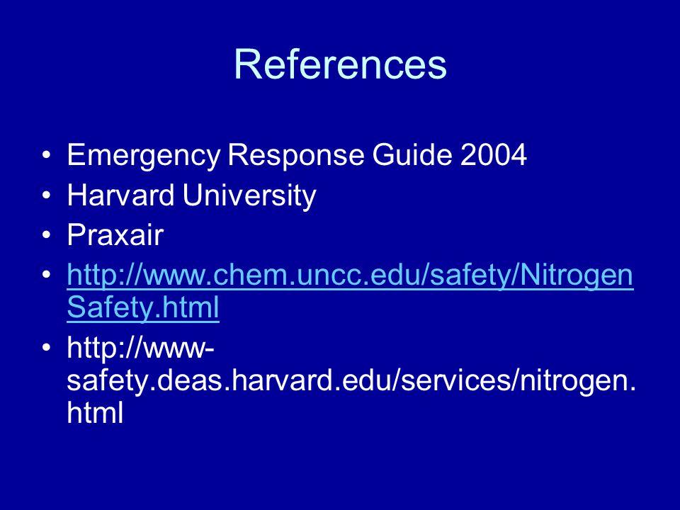 References Emergency Response Guide 2004 Harvard University Praxair