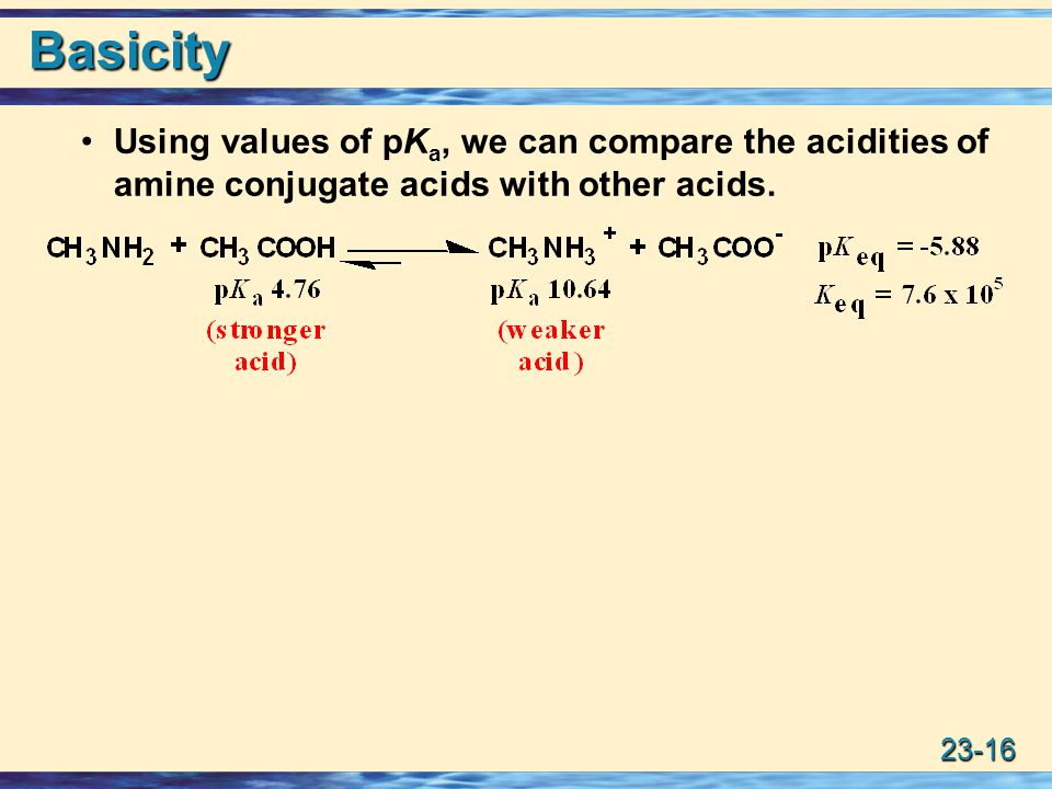 Basicity Using values of pKa, we can compare the acidities of amine conjugate acids with other acids.