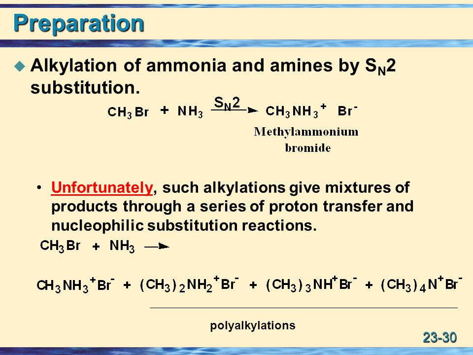 Preparation Alkylation of ammonia and amines by SN2 substitution.