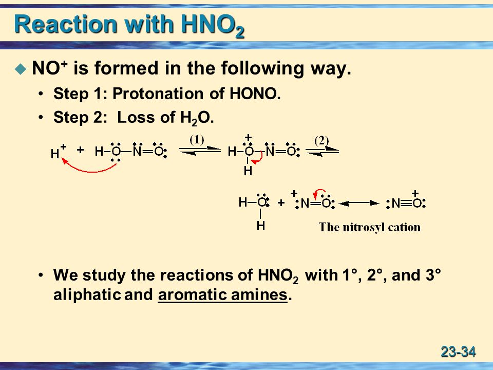 Reaction with HNO2 NO+ is formed in the following way.