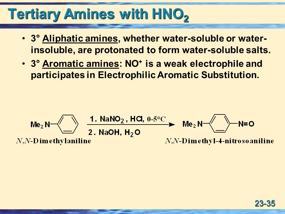 Tertiary Amines with HNO2