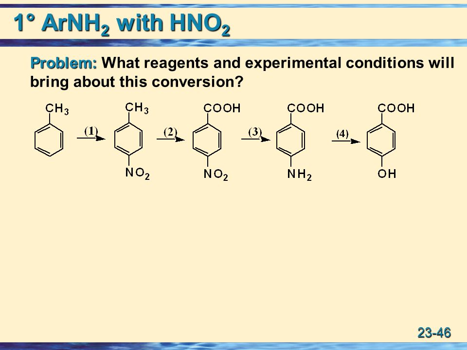 1° ArNH2 with HNO2 Problem: What reagents and experimental conditions will bring about this conversion