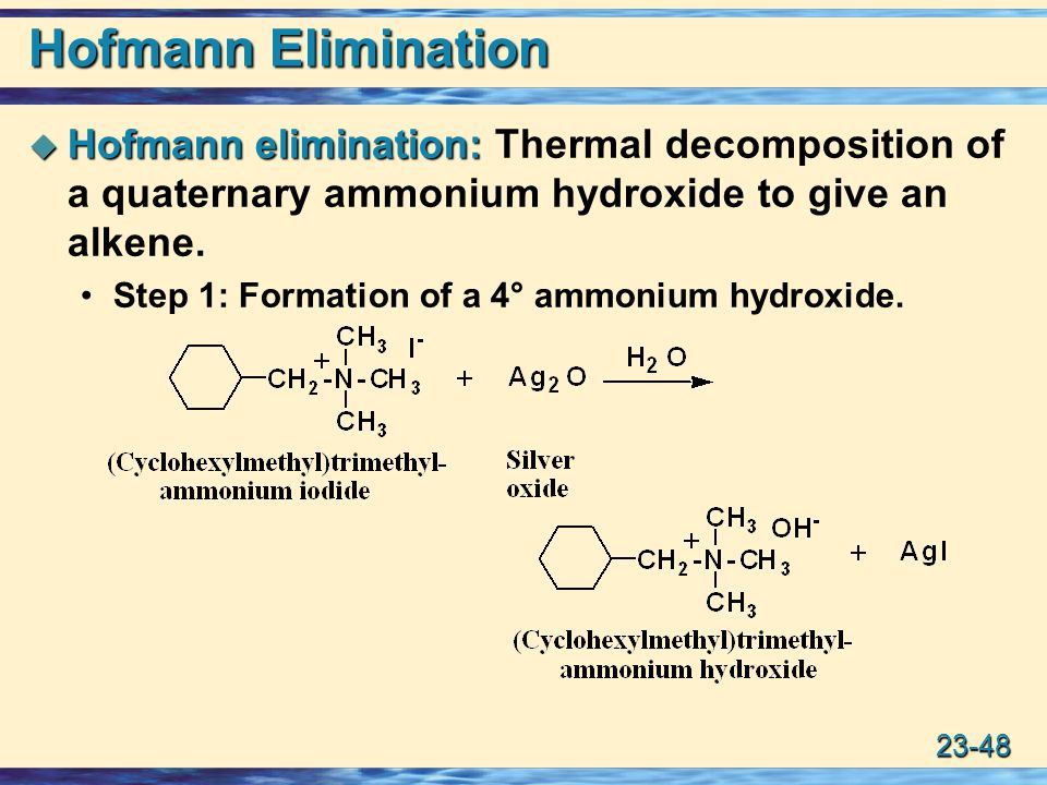 Hofmann Elimination Hofmann elimination: Thermal decomposition of a quaternary ammonium hydroxide to give an alkene.