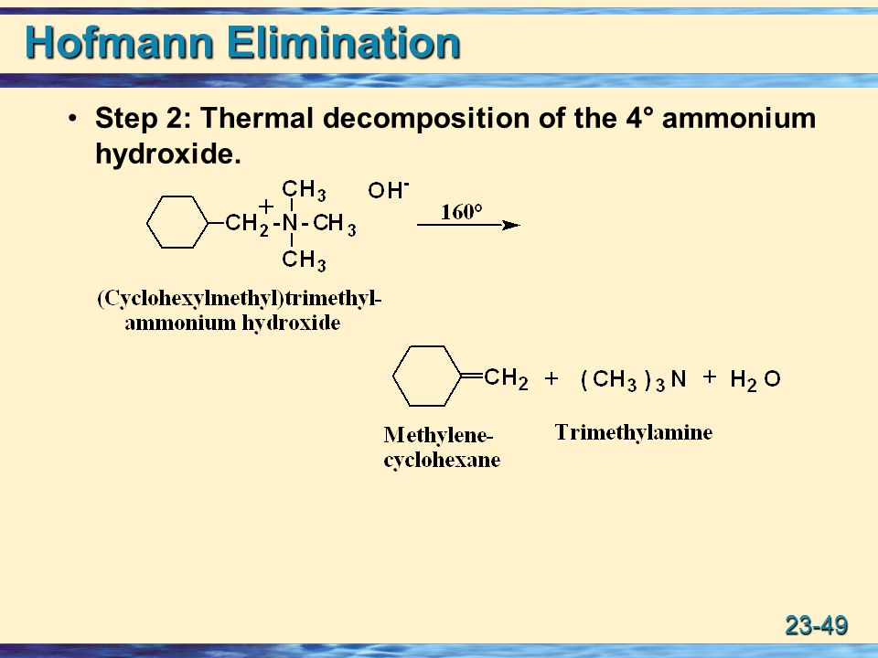 Hofmann Elimination Step 2: Thermal decomposition of the 4° ammonium hydroxide.