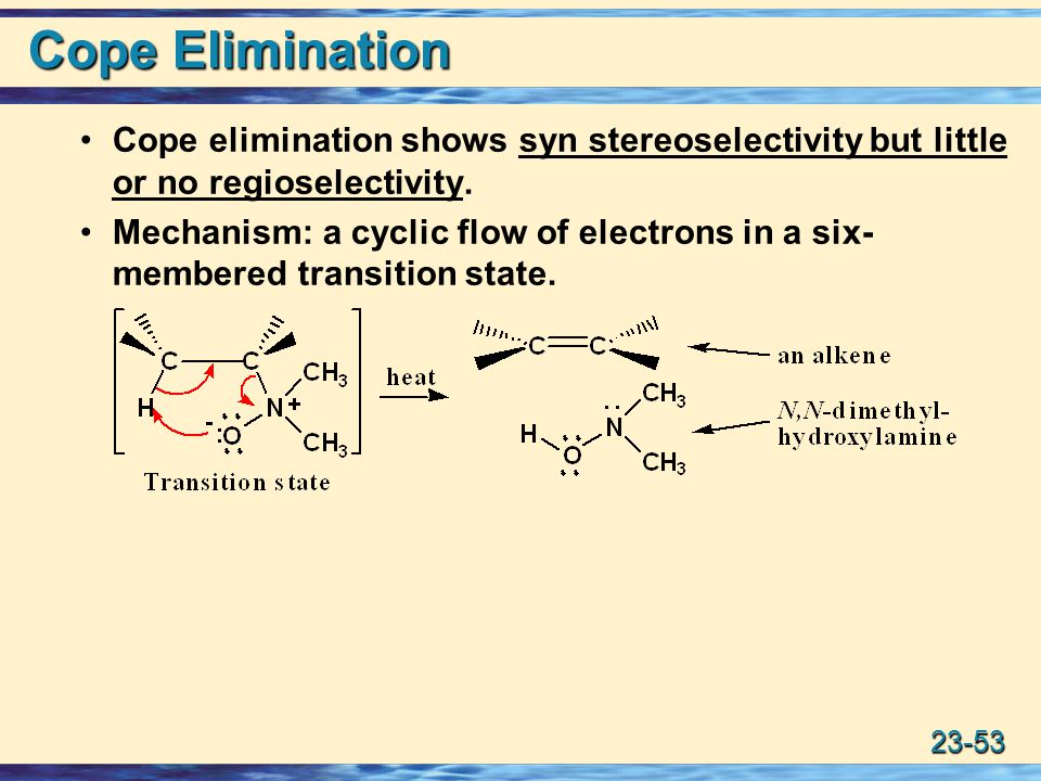 Cope Elimination Cope elimination shows syn stereoselectivity but little or no regioselectivity.