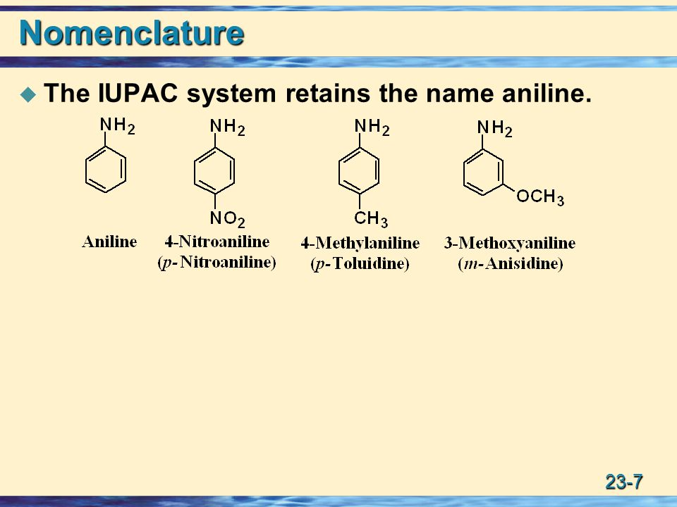 Nomenclature The IUPAC system retains the name aniline.