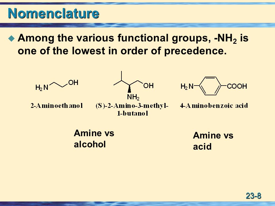 Nomenclature Among the various functional groups, -NH2 is one of the lowest in order of precedence.