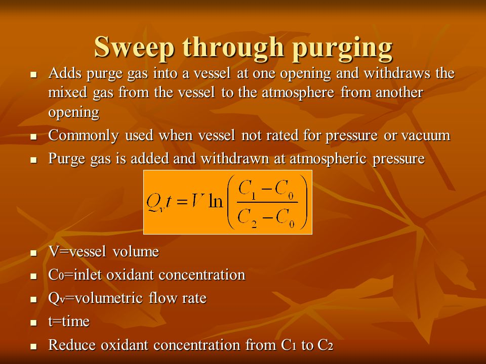 Sweep through purging Adds purge gas into a vessel at one opening and withdraws the mixed gas from the vessel to the atmosphere from another opening.