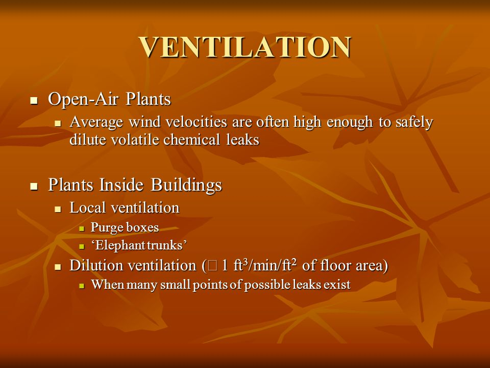VENTILATION Open-Air Plants Plants Inside Buildings