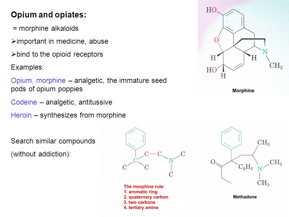 Opium and opiates: = morphine alkaloids important in medicine, abuse