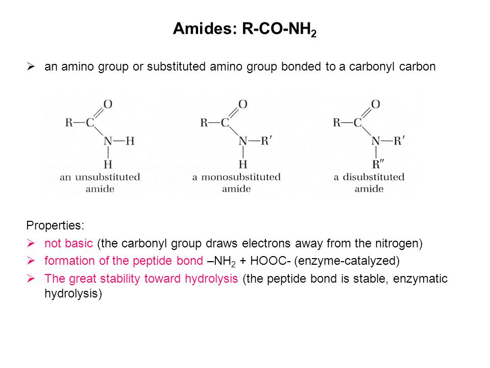 Amides: R-CO-NH2 an amino group or substituted amino group bonded to a carbonyl carbon. Properties: