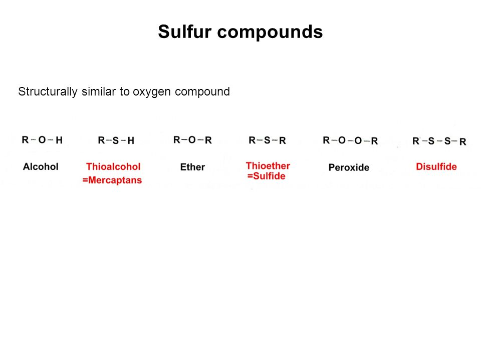 Sulfur compounds Structurally similar to oxygen compound