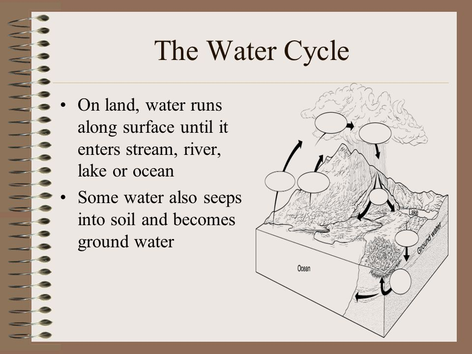 The Water Cycle On land, water runs along surface until it enters stream, river, lake or ocean.