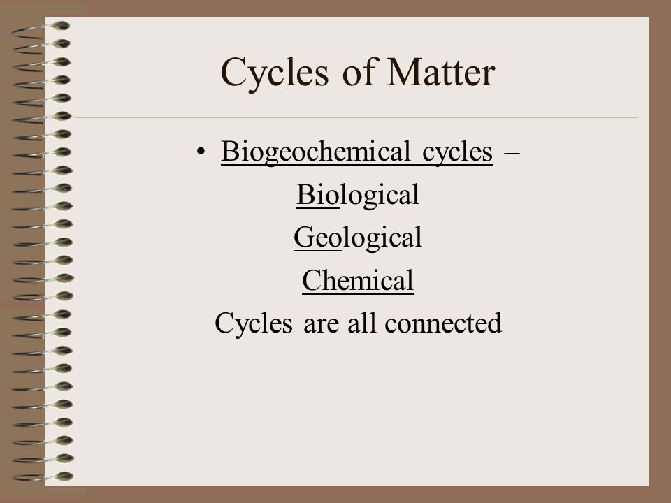 Cycles of Matter Biogeochemical cycles – Biological Geological