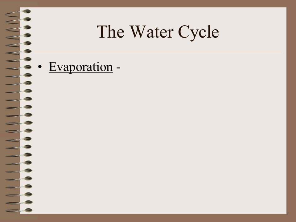 The Water Cycle Evaporation -