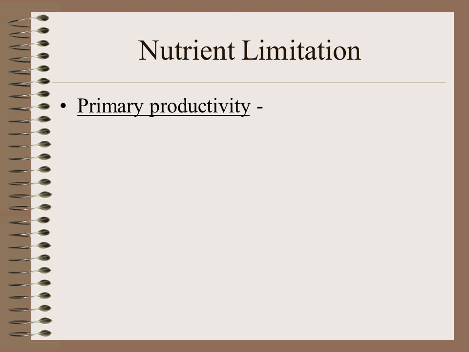 Nutrient Limitation Primary productivity -