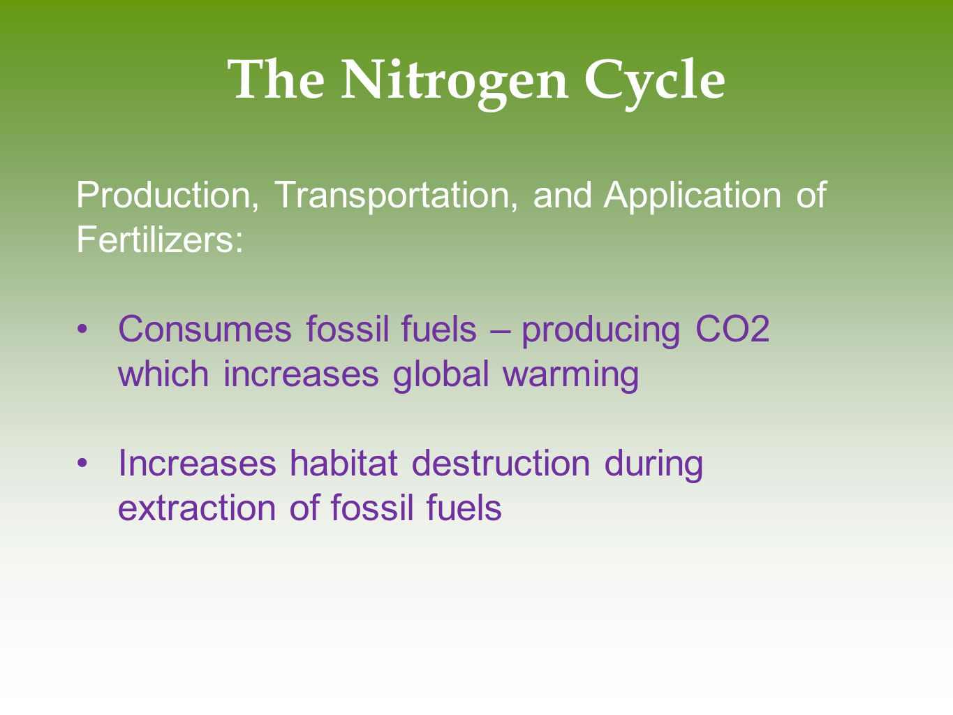 The Nitrogen Cycle Production, Transportation, and Application of Fertilizers: Consumes fossil fuels – producing CO2 which increases global warming.