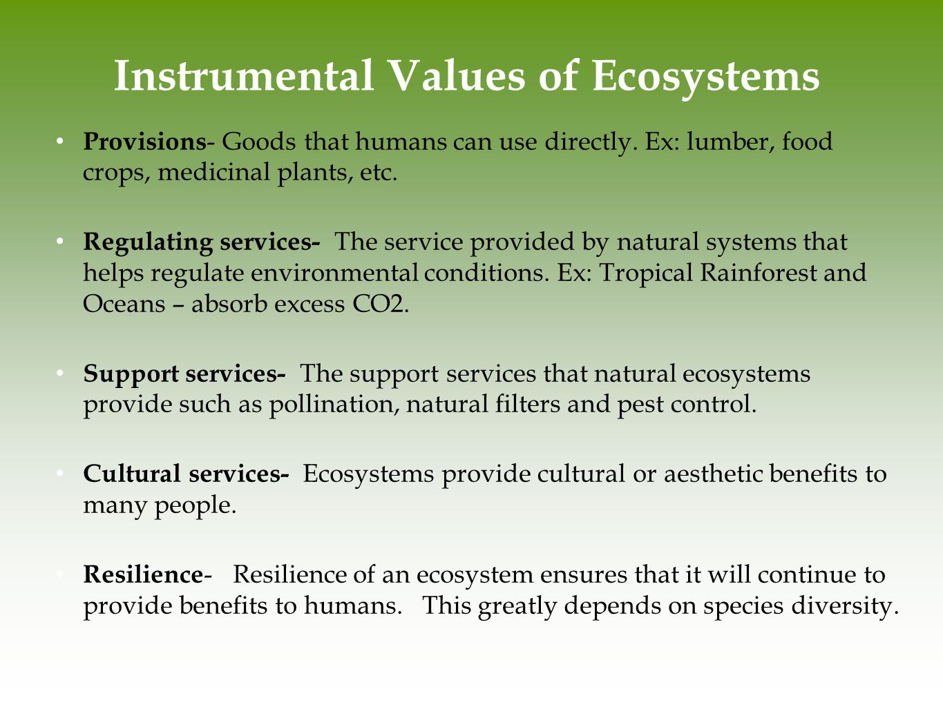 Instrumental Values of Ecosystems
