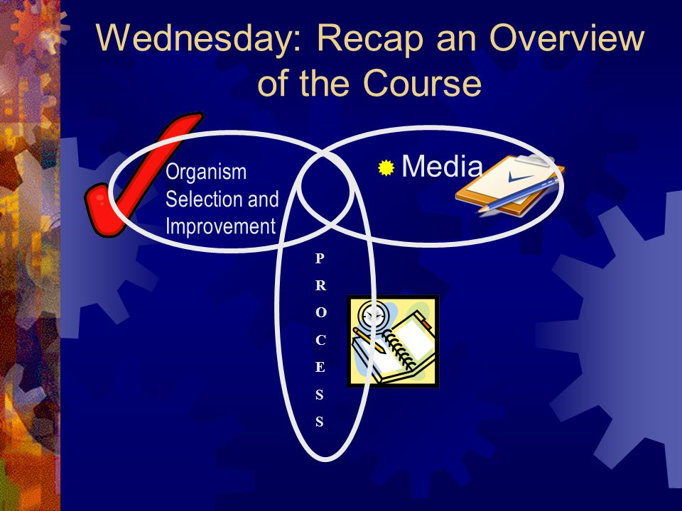 Wednesday: Recap an Overview of the Course
