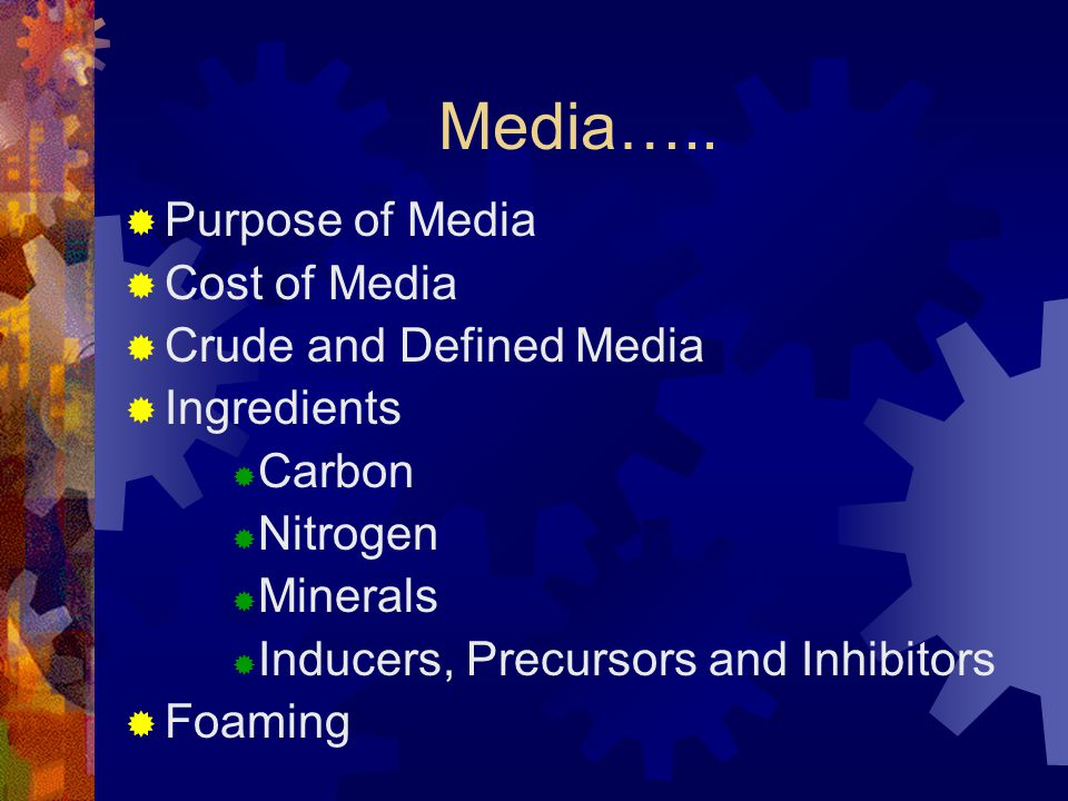 Media….. Purpose of Media Cost of Media Crude and Defined Media