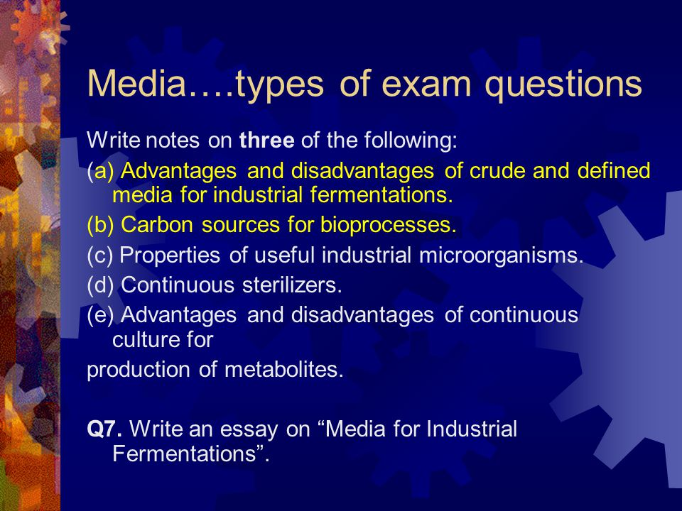 Media….types of exam questions