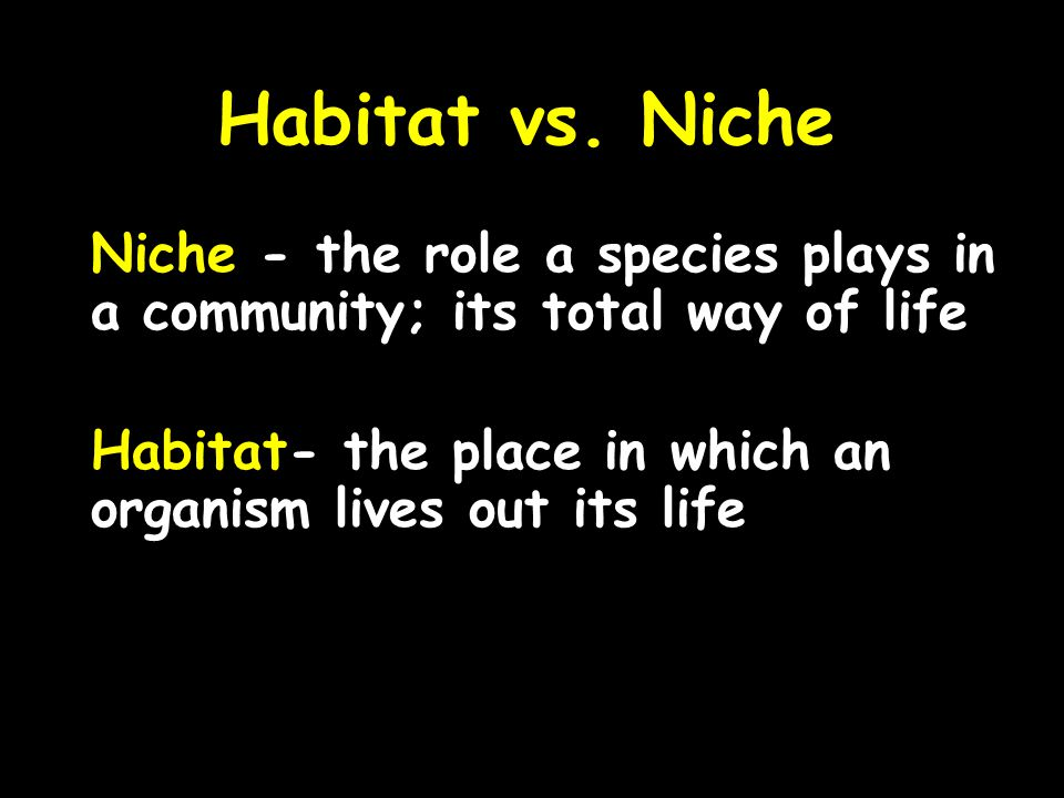 Habitat vs. Niche Niche - the role a species plays in a community; its total way of life. Habitat- the place in which an organism lives out its life.
