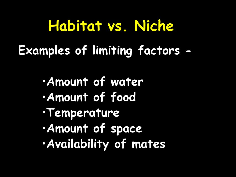 Habitat vs. Niche Examples of limiting factors - Amount of water