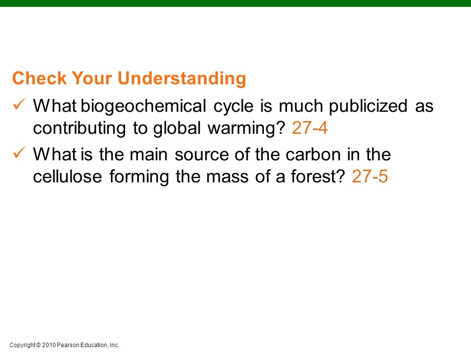 What biogeochemical cycle is much publicized as contributing to global warming 27-4
