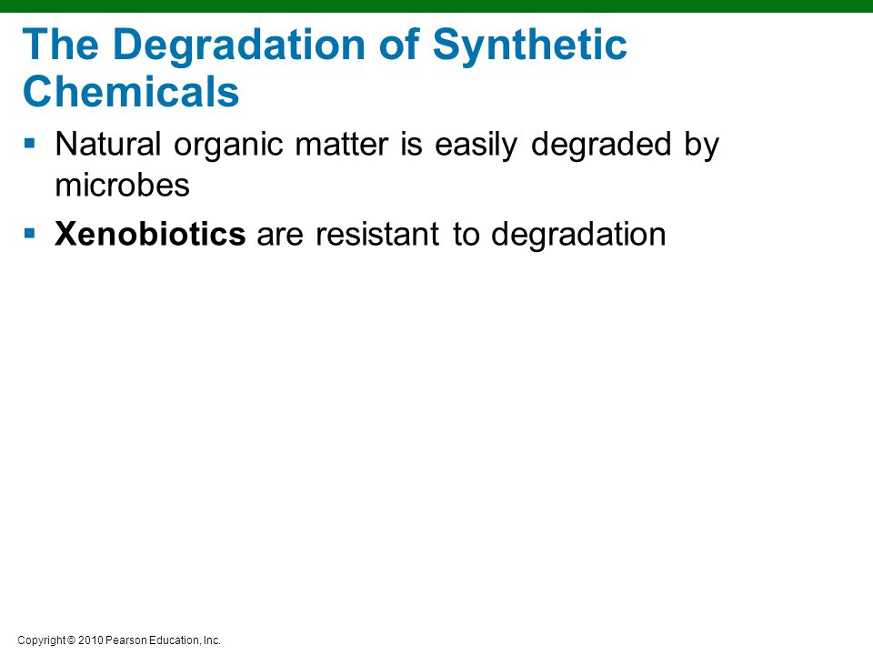The Degradation of Synthetic Chemicals
