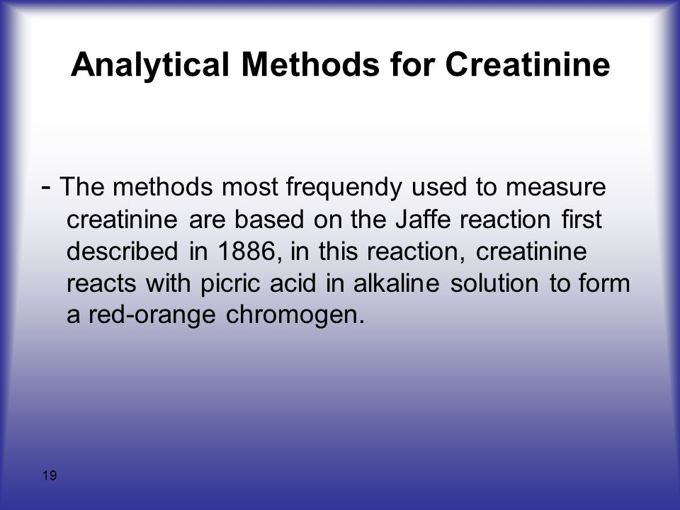 Analytical Methods for Creatinine