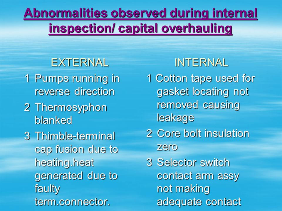 Abnormalities observed during internal inspection/ capital overhauling