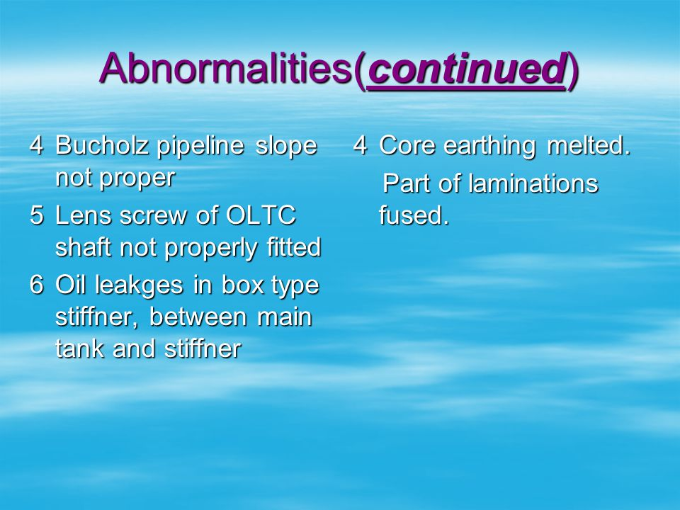 Abnormalities(continued)