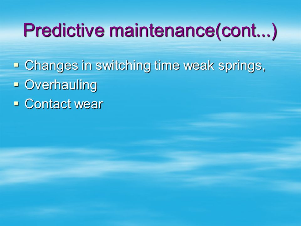 Predictive maintenance(cont...)