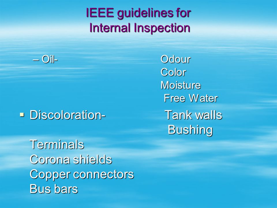 IEEE guidelines for Internal Inspection