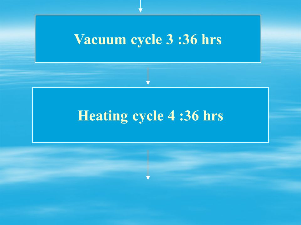 Vacuum cycle 3 :36 hrs Heating cycle 4 :36 hrs