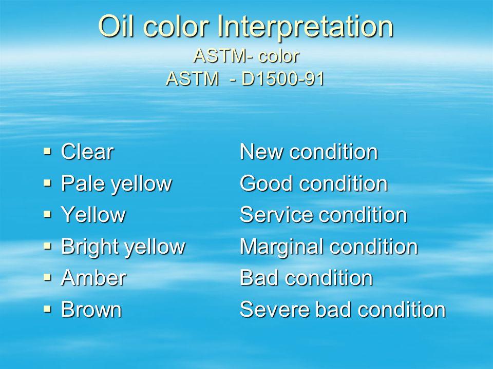Oil color Interpretation ASTM- color ASTM - D1500-91