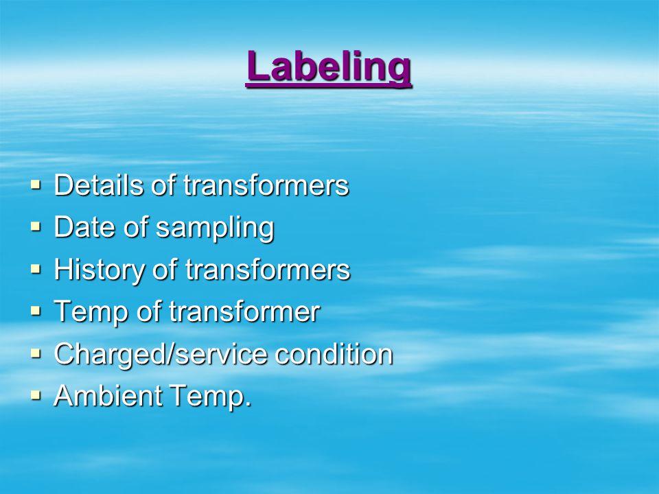 Labeling Details of transformers Date of sampling