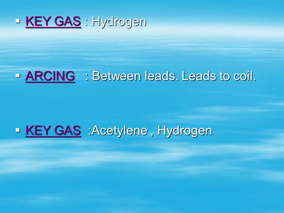 KEY GAS : Hydrogen ARCING : Between leads. Leads to coil. KEY GAS :Acetylene , Hydrogen