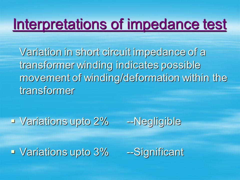 Interpretations of impedance test