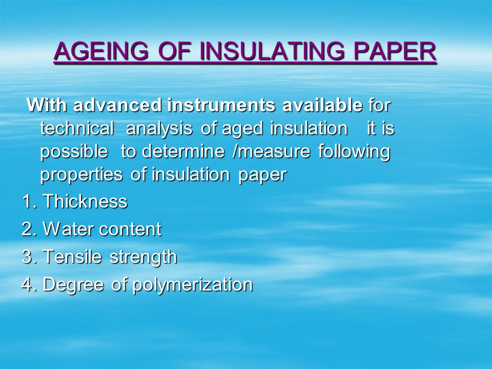 AGEING OF INSULATING PAPER