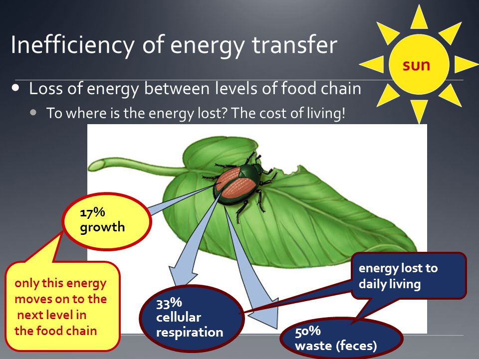 Inefficiency of energy transfer